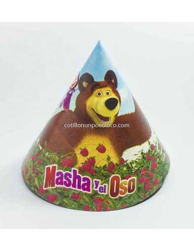 GORRO FELIZ CUMPLE MASHA Y EL OSO x10