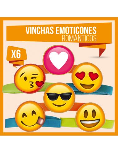 VINCHA EMOTICONES ROMANTICO x 6