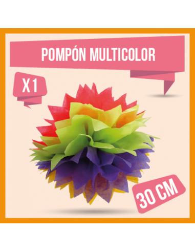 POMPON DECORATIVO  30CM MULTICOLOR