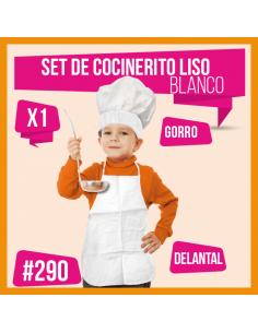 SET COCINERO NIÑO LISO BLANCO