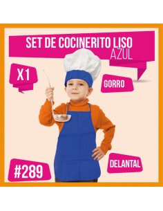 SET COCINERO NIÑO LISO AZUL