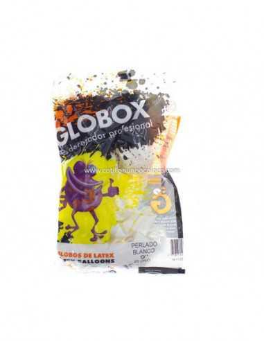 """GLOBO  9"""" PERLADO BLANCO x25"""